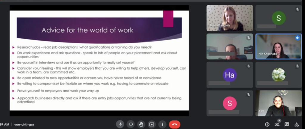 Screenshot of learners on an online workshop
