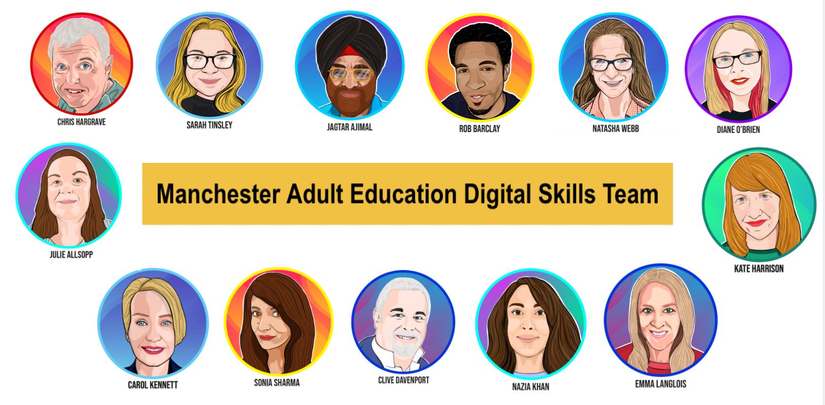 Manchester Adult Education Digital Skills team portraits